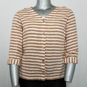 Rachel Zoe Linen Top Boxy Stripe 3/4 Sleeve Button